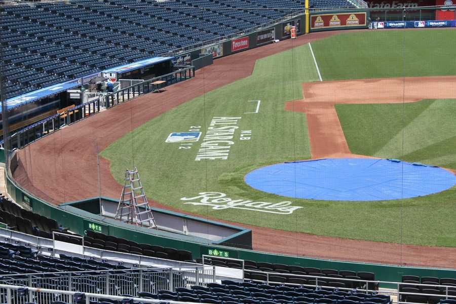 Home plate has been covered to protect it.