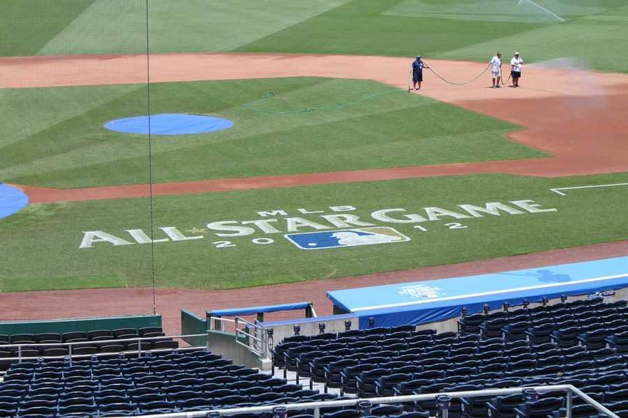The All-Star logo along the first base side.