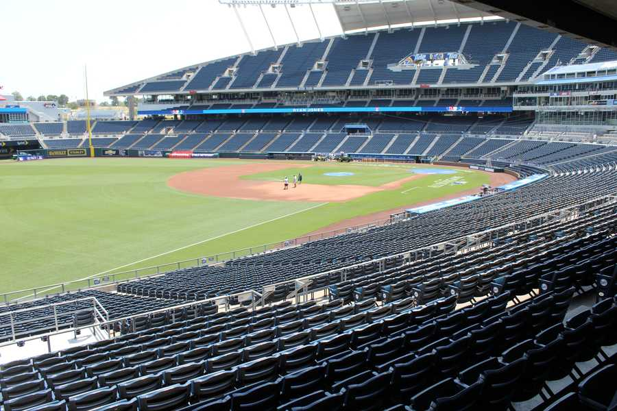 Looking back to home plate from left field.