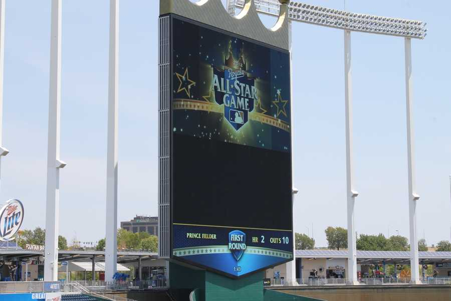 Crews were testing CrownVision for the Home Run Derby.