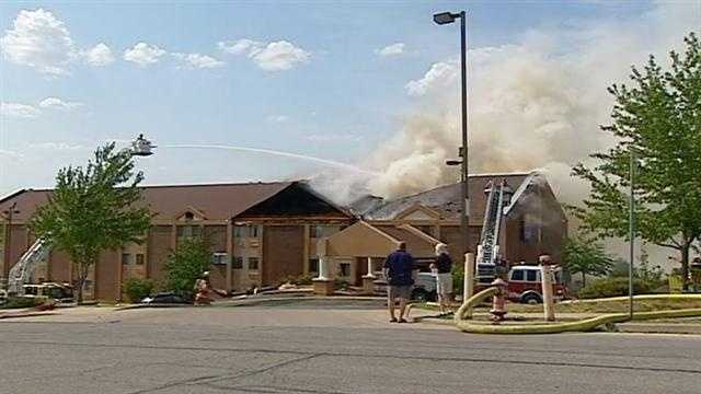 The Comfort Inn in Blue Springs near I-70 caught fire on Friday afternoon.