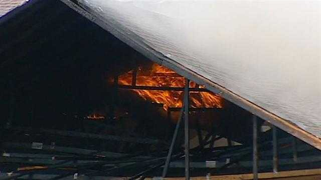 A portion of the motel roof just before it collapsed.