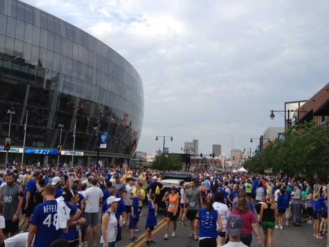 Outside the Sprint Center at the start of the All-Star Game Charity 5K & Fun Run.