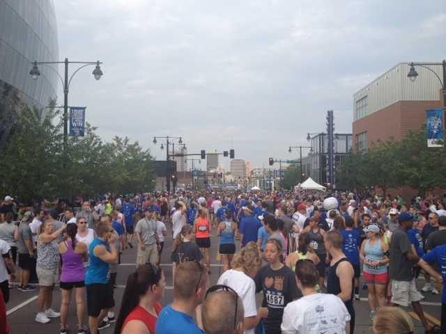 Near the start line.