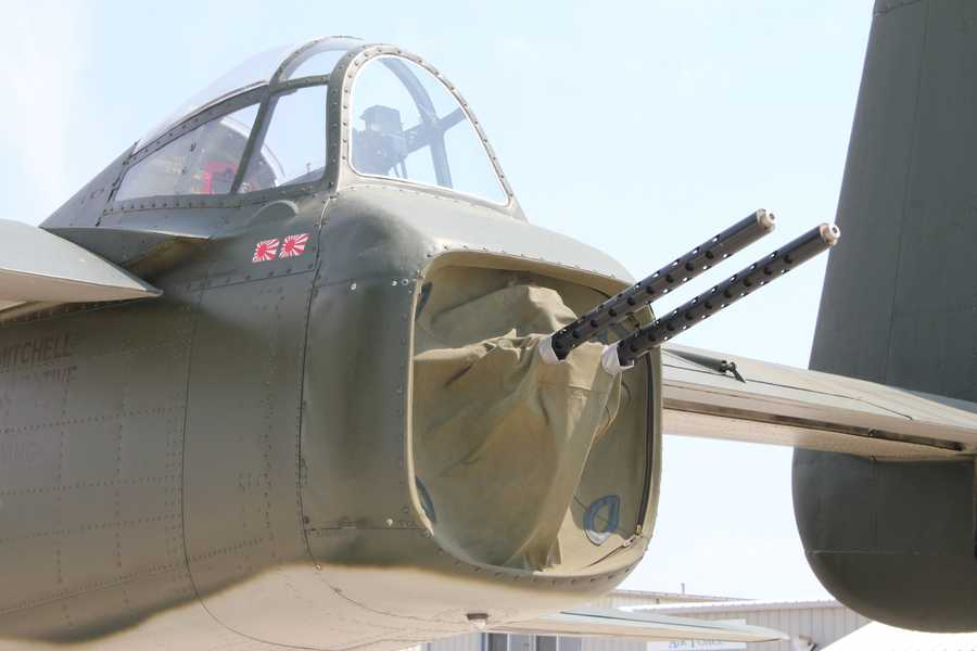 Some of the guns on the bomber.