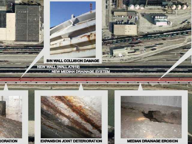 This image from a MoDOT pamphlet on the project shows areas where wall damage, expansion joint deterioration and median drainage erosion has occurred.  These areas will be fixed by the project.