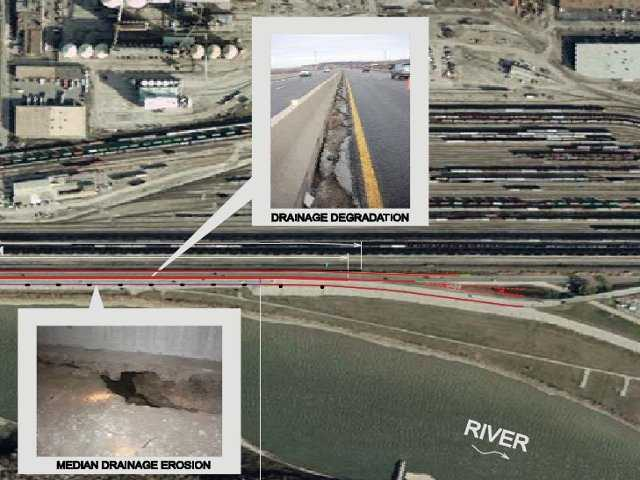 This image from a MoDOT pamphlet shows areas where drainage degradation and median drainage erosion has occurred along the highway.  Again, these areas will be fixed during construction.