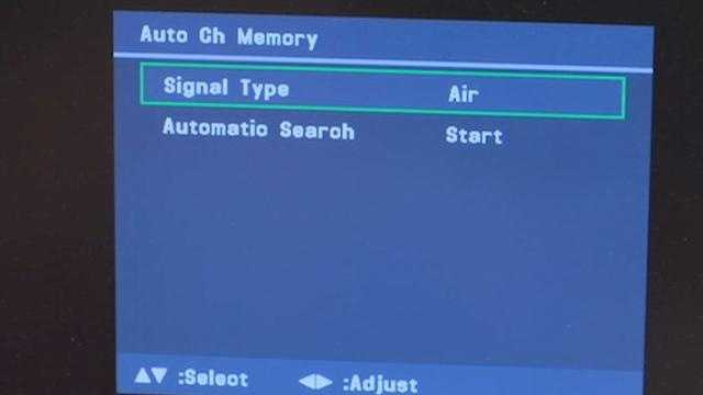 """You'll want to find the """"auto scan"""" option in the menu, and select """"air"""" under signal type. Then select start scan."""