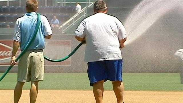 Groundkeepers at Kauffman Stadium describe their struggle to keep the field green and healthy during the heat wave. KMBC 9's Micheal Mahoney reports.