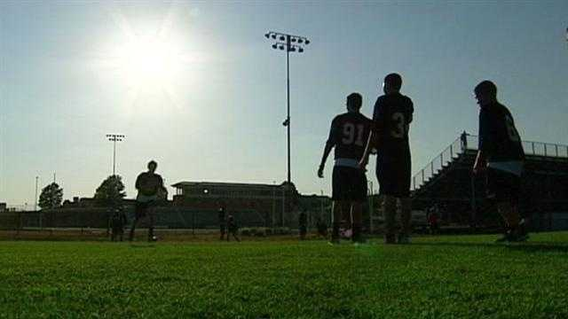 Some football practices started Monday, despite triple-digit temperatures, but coaches are taking steps to keep players safe in the heat. KMBC 9's David Hall reports.