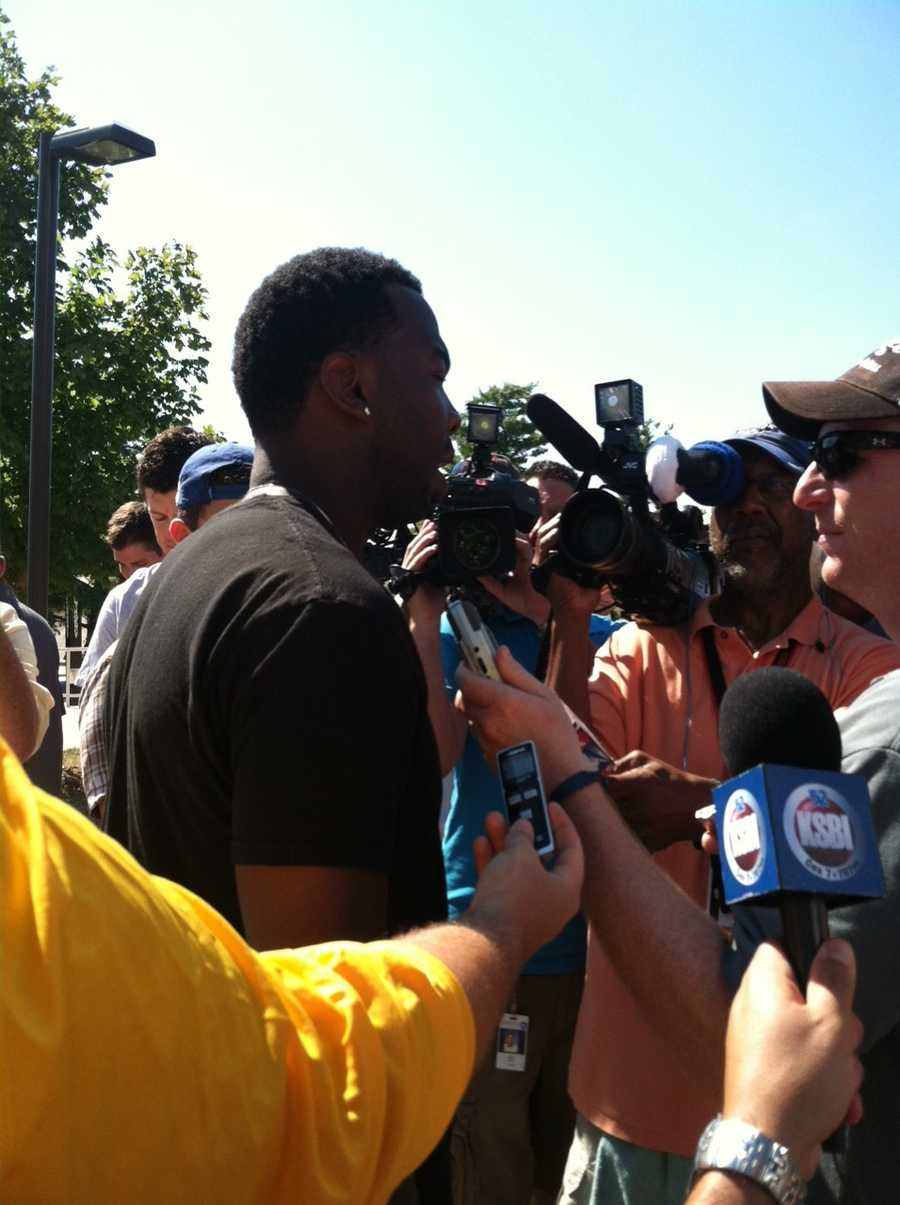 DB Travis Daniels talked to the media as he moves in for training camp.