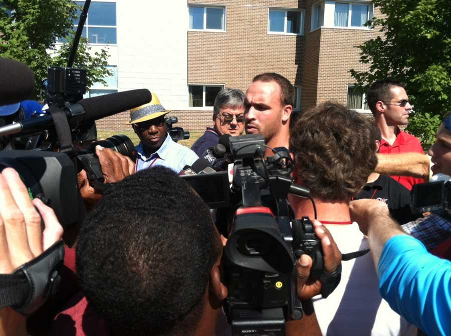 LB Caleb Campbell talks to the media as he gets moved in for training camp.