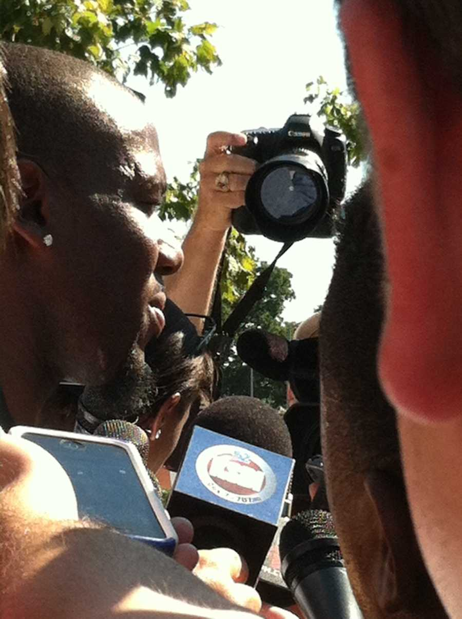 Wide Receiver Terrance Copper talks to the media as he moves in for training camp.