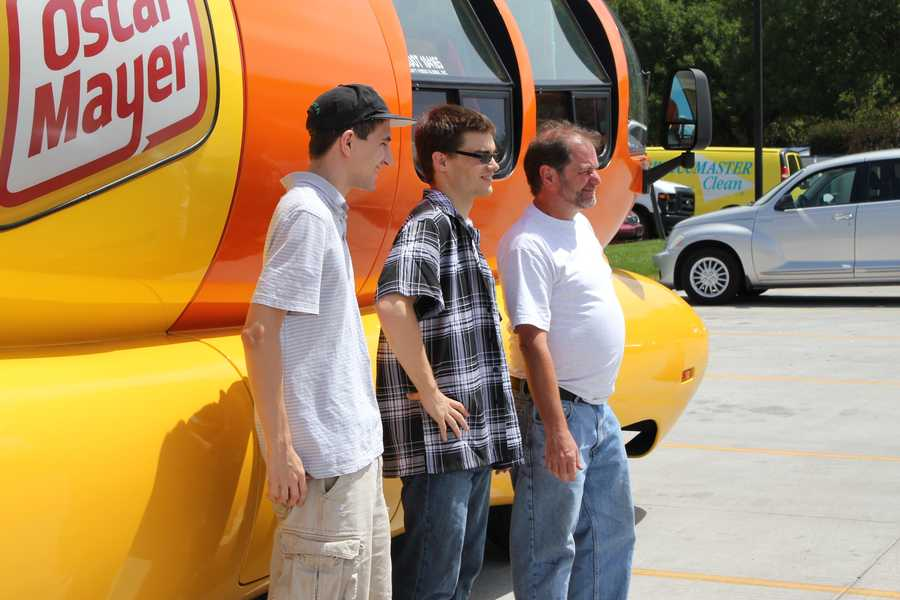 People took their picture with the Wienermobile