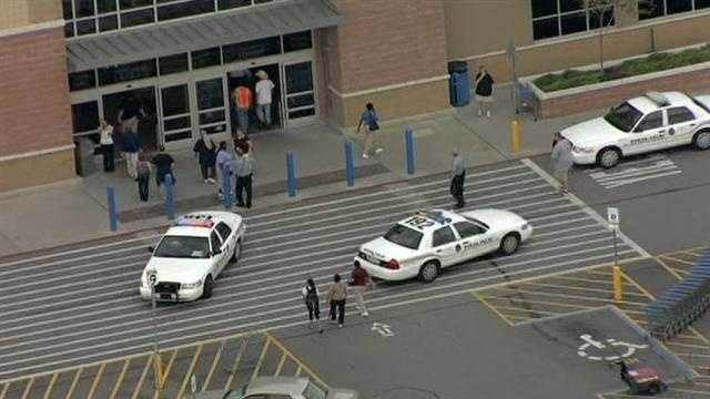 The scene outside the Village West Walmart in Kansas City, Kan., which was evacuated due to a phone threat on Friday afternoon.