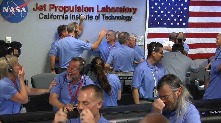 From NASA.gov: Engineers at NASA's Jet Propulsion Laboratory in Pasadena, Calif., celebrate the landing of NASA's Curiosity rover on the Red Planet. The rover touched down on Mars the evening of Aug. 5 PDT (morning of Aug. 6 EDT)