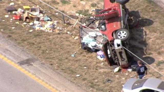 It appeared the person who was killed was riding in this red pickup truck.