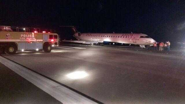 Images from JFK Airport where a Kansas City-bound jet had to make an emergency landing on Monday night after two tires on the plane blew out. The plane had taken off from Boston when it had to make the emergency landing in New York.  The flight was operated by Pinnacle Airlines.