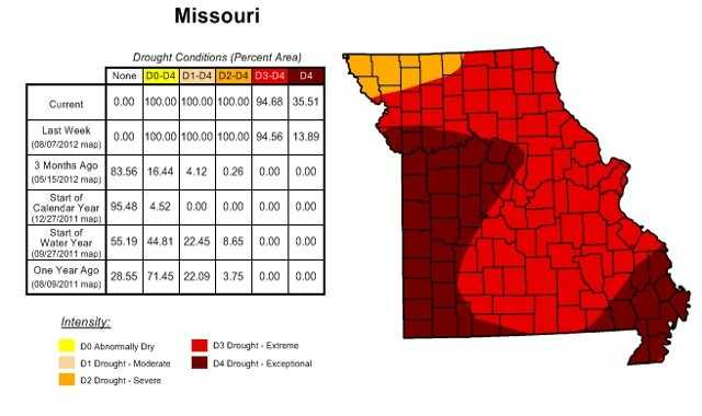 "The US Drought Monitor map for Missouri shows extreme to exceptional levels of drought across the state.  The northwest corner of the state is under ""severe"" drought, which is actually a ""better"" drought level compared to ""extreme"" and ""exceptional"" drought across the state."