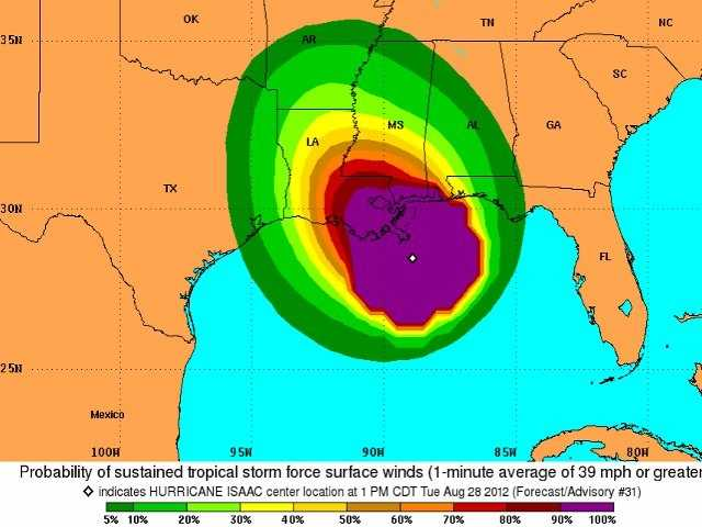 This map shows possible wind speeds from the hurricane.