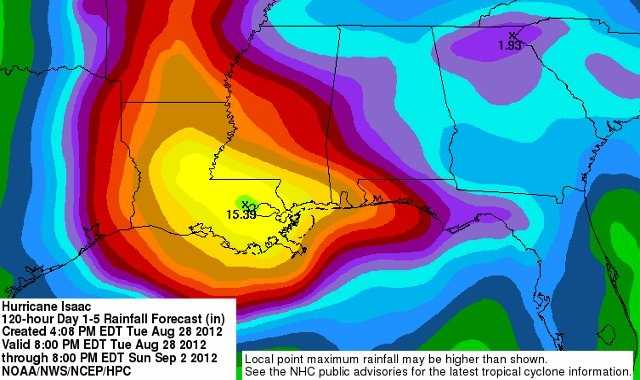 """Check out this map showing how much rain could fall in Louisiana! As much as 15"""" of rain could fall!"""