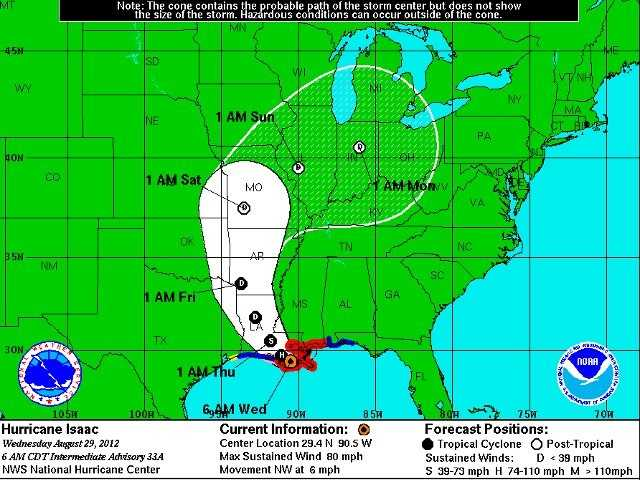 Here's Isaac's storm track as of Wednesday morning. The track has moved a bit closer to the metro.