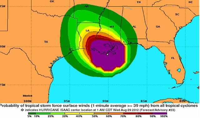The expected wind speeds from Isaac.