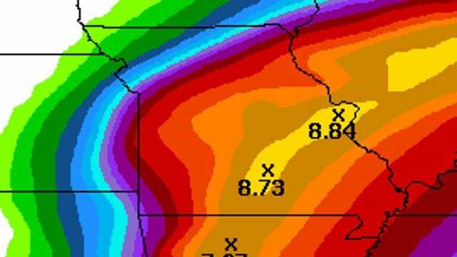 NOAA's estimated rainfall forecast.