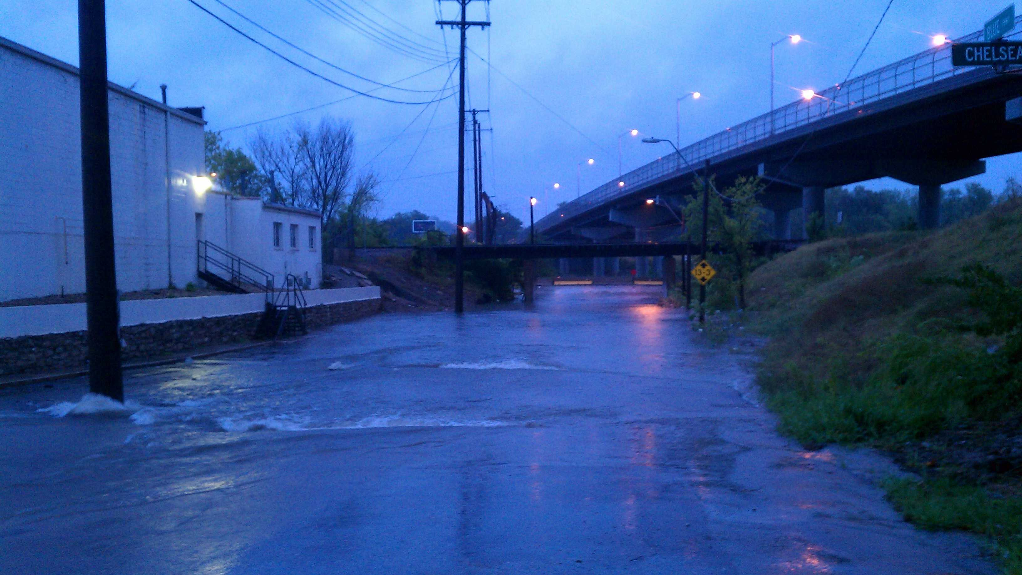 Water over the road at Chelsea and Blue Parkway