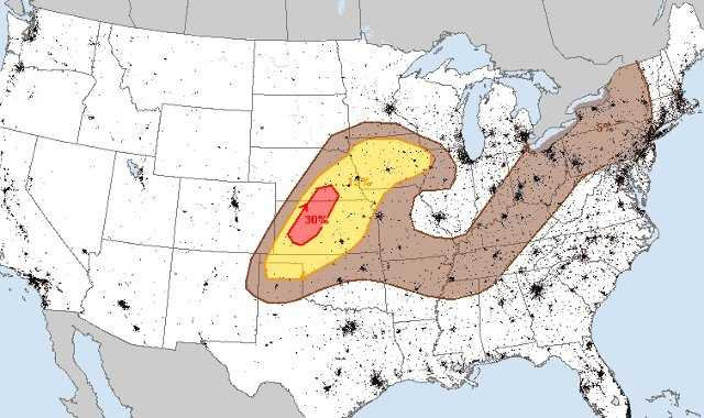 Here's Thursday's damaging hail risk.  The Kansas City Metro is under a 5% chance, while areas to the north and west are at a higher risk level.