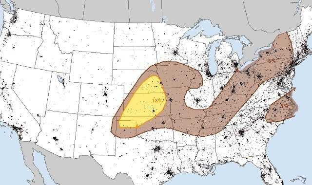 Here's Thursday's risk of damaging winds.  The Kansas City Metro is under a 5% chance of seeing storms with damaging winds.  Areas to the west of the metro stand a higher probability of 15%.