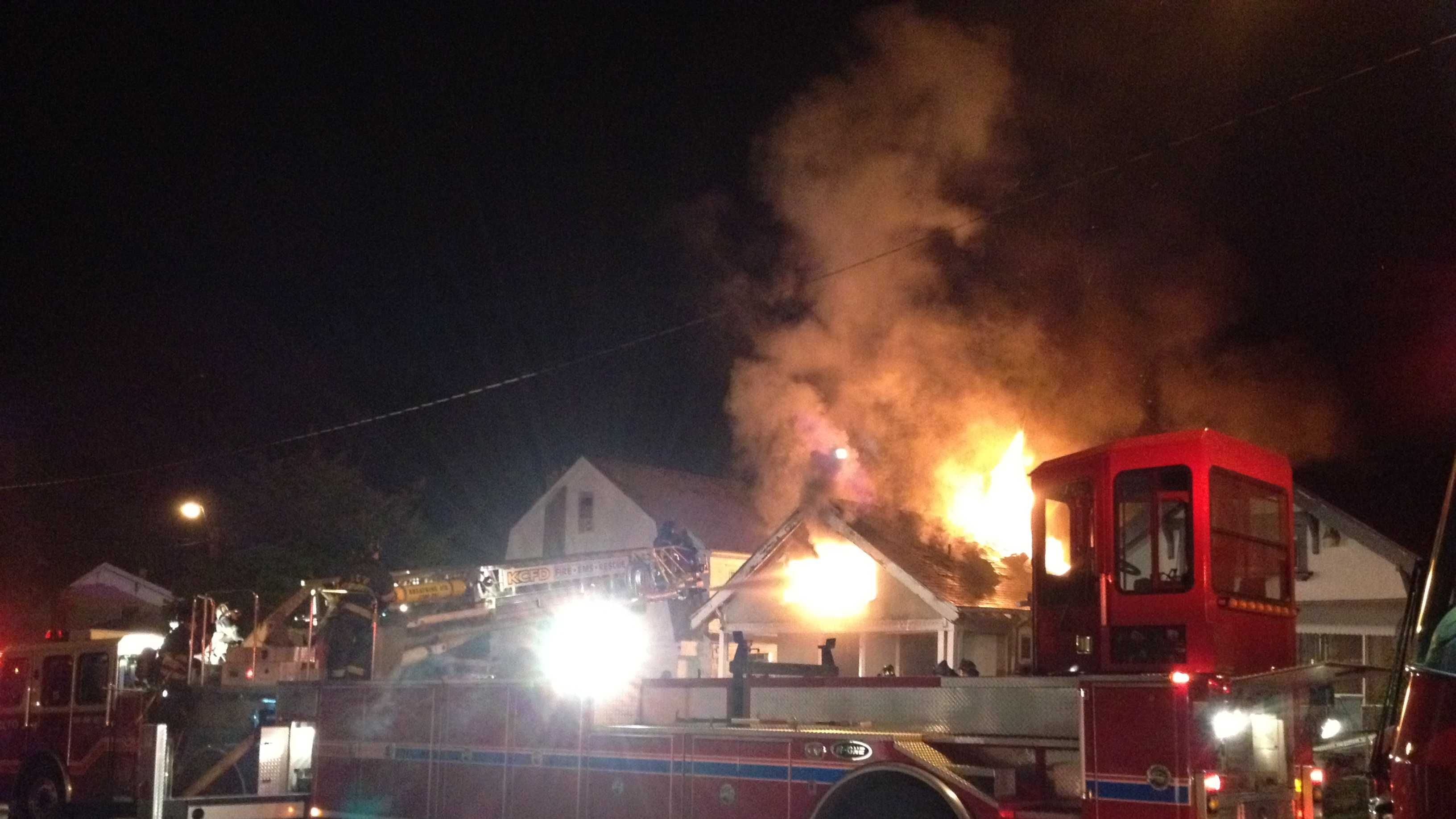 A one-story house was engulfed near 40th and South Benton Thursday night.