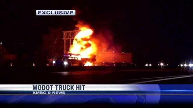 MoDOT truck on fire