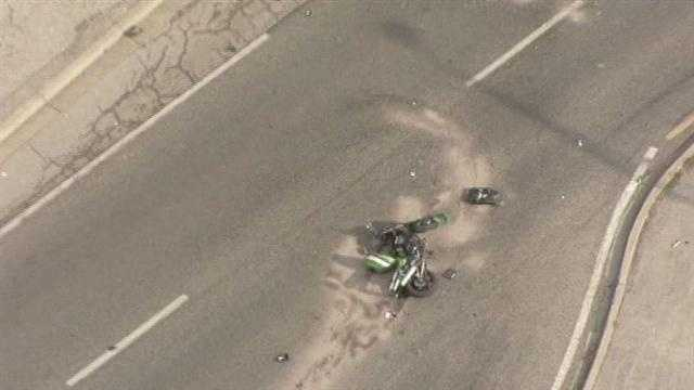 Images from a deadly motorcycle wreck along Metcalf Avenue at 56th Street on Wednesday afternoon.