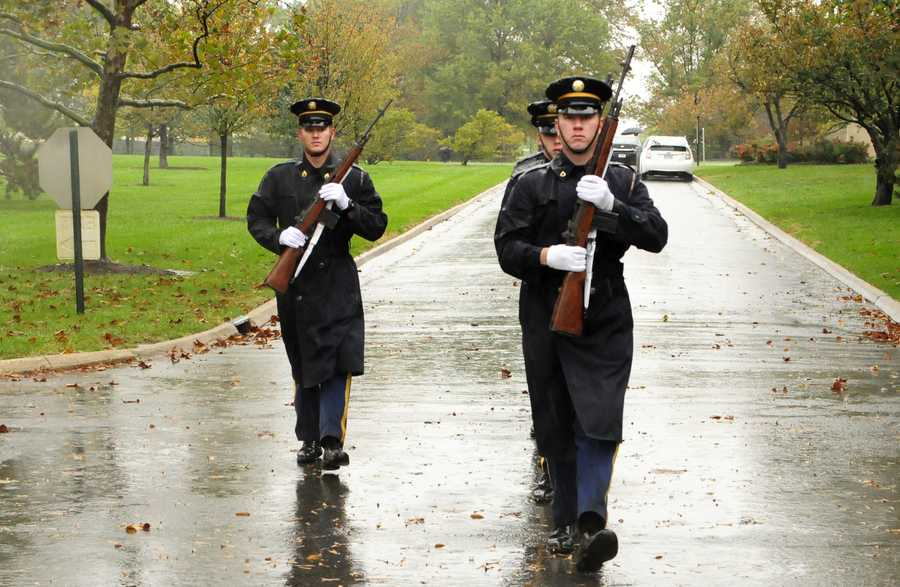 Via the Army: A Firing Party from Delta Company, 3d U.S. Infantry Regiment (The Old Guard), leaves the columbarium area after conducting a funeral for a Veteran at Arlington National Cemetery, Va., Oct. 29, 2012. Even with Hurricane Sandy bearing down on the Eastern Seaboard the Old Guard are still committed to honoring our Nation's Veterans.