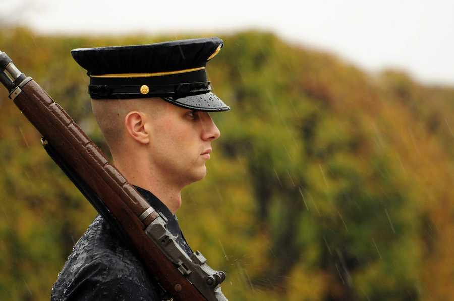 Via the Army: Spc. Brett Hyde, Tomb Sentinel, 3d U.S. Infantry Regiment (The Old Guard), maintains his vigil during Hurricane Sandy while guarding the Tomb of the Unknown Soldier at Arlington National Cemetery, Va., Oct., 29, 2012. In 1948 the Old Guard assumed the post following the unit's reactivation in the nation's capital.