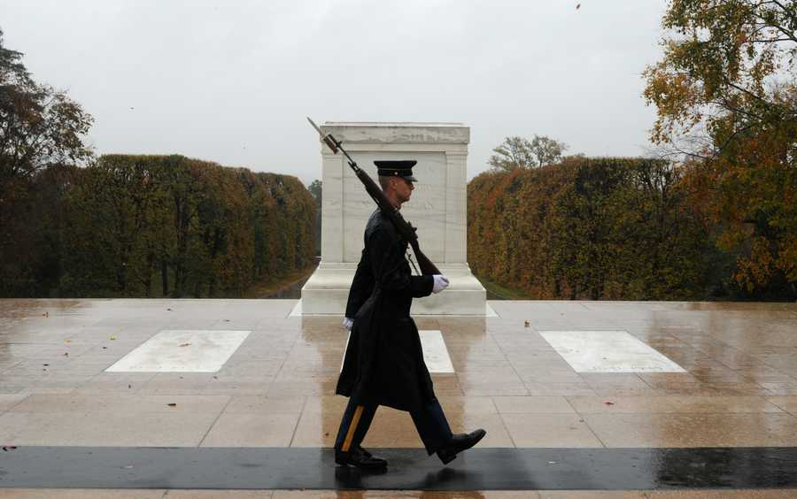 "Via the Army: Spc. Brett Hyde, Tomb Sentinel, 3d U.S. Infantry Regiment (The Old Guard), keeps guard over the Tomb of the Unknown Soldier during Hurricane Sandy at Arlington National Cemetery, Va., Oct. 29, 2012. Just like the Sentinel's Creed says ""Through the years of diligence and praise and the discomfort of the elements, I will walk my tour in humble reverence to the best of my ability"", Hyde lives by this creed."