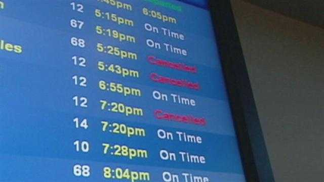 Some air travelers with flights to the northeastern United States have found themselves stranded after cancellations linked to Hurricane Sandy.