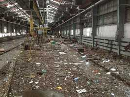Staten Island Railway's Clifton Shop in the aftermath of Hurricane Sandy.