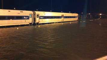 Train at Metro-North Railroad's Croton-Harmon station, in the aftermath of Hurricane Sandy.