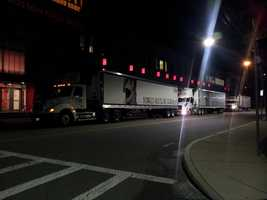 Three tractor trailers filled with emergency relief supplies from the Greater Boston Food Bank left Boston at 4 a.m. Saturday for New York, New Jersey and Connecticut.
