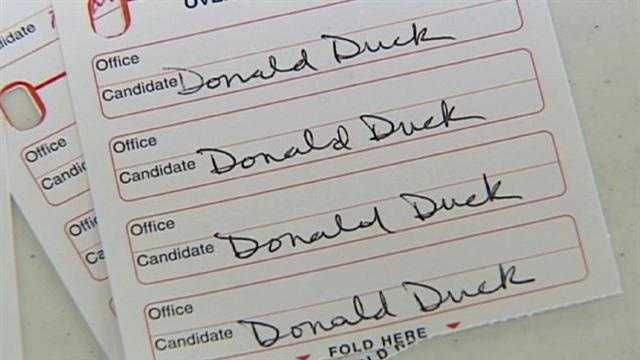 Election workers said they've seen some creative names written in on ballots when voters don't like the options given to them.