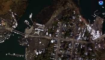 """Keyport, New Jersey. """"Before"""" image captured by Google&#x3B; """"After"""" image captured by NOAA's National Geodetic Survey."""