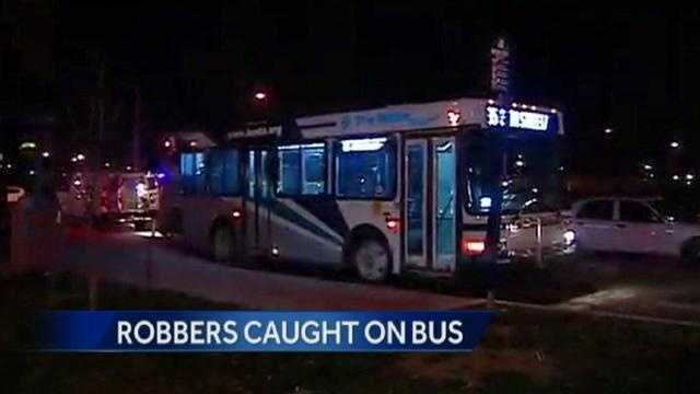 Kansas City Police arrest three armed robbery suspects on a Kansas City ATA bus.