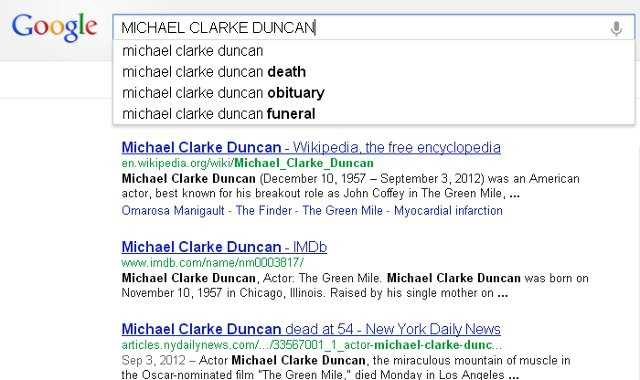 9) Michael Clarke Duncan: Duncan, a famous American actor, died on Sep. 3, 2012.
