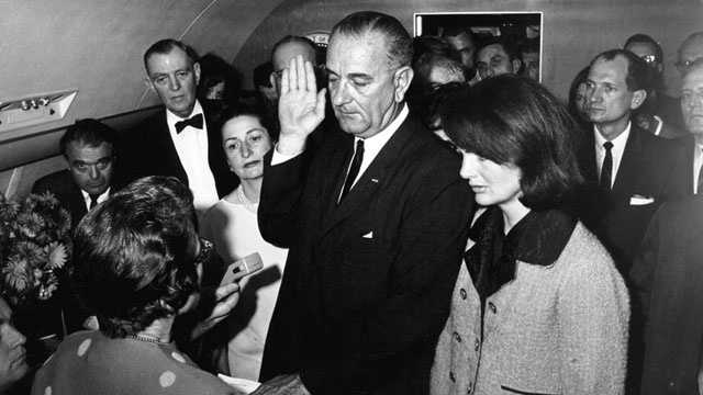 50 Years Ago: Less than two hours after President John F. Kennedy died in a Dallas hospital, Lyndon Baines Johnson took the oath of office to succeed him.