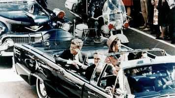 50 years ago: President John F. Kennedy is assassinated while riding in a motorcade through the streets of Dallas.