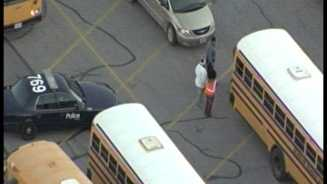 School bus shot at near 93rd, Cleveland