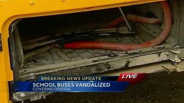 Police investigate vandalized school buses in Odessa