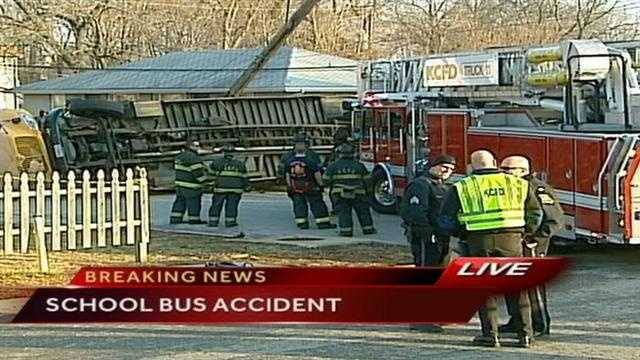 The school bus, from Success Academy, crashed at about 4:30 p.m. near 67th Street and Askew.